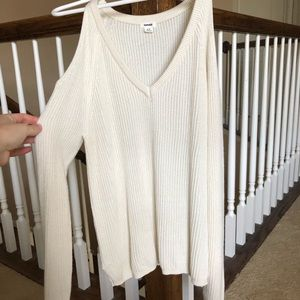 Garage v neck sweater with cut out shoulders